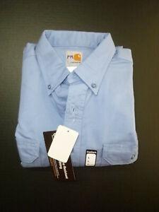 NEW! Carhartt Work Shirt Medium BLUE Flame Resistant Twill Workwear Long Sleeve
