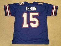 UNSIGNED CUSTOM Sewn Stitched Tim Tebow blue Jersey - M, L, XL, 2XL