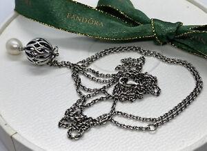 Pandora Sterling Silver Pearl Drop Pendant #390342P RETIRED Authentic Ale 90cm
