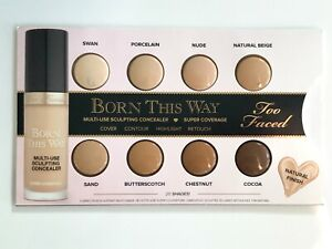 Too Faced Born This Way Concealer Sample Card - 8 Shades - NEW & SEALED