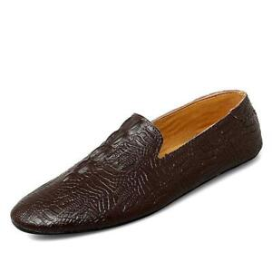 Mens Leather Shoes Driving Moccasins Slip on Loafers Crocodile pattern Flat 2021