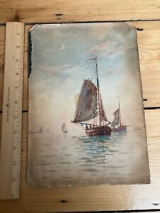 Antique - painting of sail boat (Dutch artist?) - on paper stuck to a board