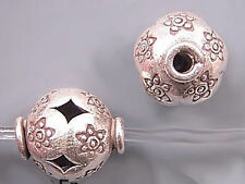 Karen Hill Tribe Silver Patterned Open Beads T637 (1) 12mm Hole 1.7mm