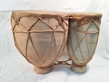 Vintage Drum Tom-Tom Handmade Clay Bongos