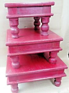 Reclaimed wood Foot table Ceremonial table low sitting dinning BAJOT Set 3pc RED