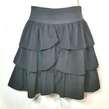INC International Concepts Black Skirt Womens Size 2 Ruffled Tiered Back Zipper