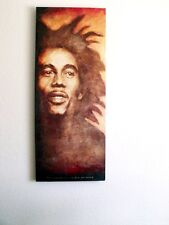 "Portrait of Bob Marley, acrylic painting on gallery wrap canvas, 16"" by 40"""
