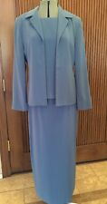 Amanda Smith Formal Mother of Bride Blue Gray 3 pc long Skirt Suit  Size 8