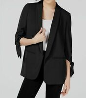 $240 Bar Iii Women's Black 3/4 Tie-Sleeve Open Front Buttonless Blazer Size S