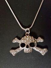 Skull & Cross Bones Silver tone Necklace Rhinestones Haloween Gothic Biker
