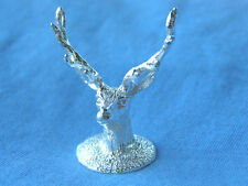 SILVER STAGS MODEL.  HALLMARKED STERLING SILVER STAGS HEAD FIGURE SHELF MODEL
