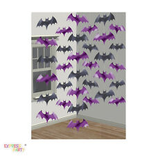 Halloween Party Black & Purple Bat String Decorations