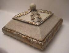 DECORATIVE TABLE TOP BOX FLEUR DE LIS- IVORY W/ ANTIQUED GOLD & SILVER FINISH
