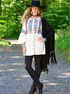Tasha Polizzi Womens White Charlotte Embroidered Geometrical Tunic Blouse SM-LG
