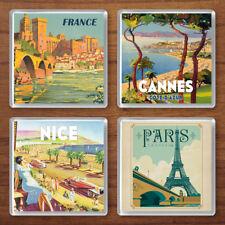 Vintage Travel Posters Set of 4 Retro Drink Coasters France Paris Cannes Nice