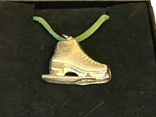 "Ice Skate TG108 English Pewter On 18"" Green Cord Necklace"