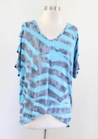 Clara Sun Woo Gray Blue Printed Cutout Open Sleeve V Neck Top Blouse Size M