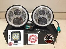 "7"" LED Headlights x2 Chrome 50W E Marked UK EU Halo Indicator Free LED 750AC"