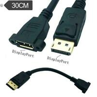 30cm DisplayPort DP Male to Female Audio Video Screw Panel Mount Extension Cable