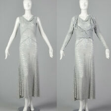 Small 1930s Blue Lace Dress and Jacket Deco Dress Sheer Sleeveless 30s Formal