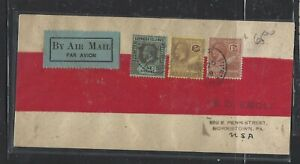 LEEWARDS ISLANDS  COVER (P2707B)  KGV 1/-+ANTIGUA 3D+ 1 1/2D RED BAND COVER USA