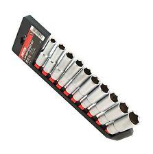 """Dekton 10pc 1/2"""" Drive Metric Deep Socket Set Stain Finish & Rail Set 10 To 24mm"""