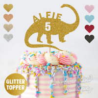 Personalised Custom Glitter Cake Topper, Dino Dinosaur Boys Children's Birthday