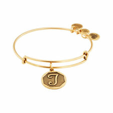 "Alex and Ani Initial ""T"" Expandable Wire Bangle Bracelet, 2.5-Inch, Rafaelian Gold"