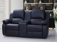 New Valencia 2 Seater Electric Bonded Leather Recliner Sofa With Console - Black