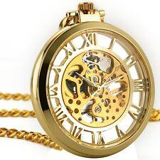 Open Face Fob Elegance Golden Mechanical Skeleton Big Case Pocket Watch
