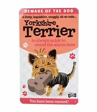 Beware of the Yorkie Yorkshire Terrier Funny Metal Wall Sign Dog Lovers Gift