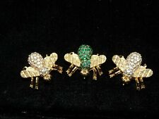 (3) CINER GOLD Plated WINGS BEE PIN BROOCH SWAROVSKI PAVE Crystal Emerald Green