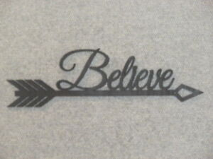 Believe Arrow Wood Wall Sign Home Decor