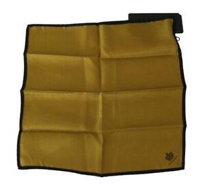 DOLCE & GABBANA Handkerchief Scarf Silk Mustard Crown DG Logo 32cm x 32cm
