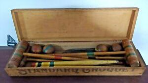Vintage Antique Wooden Standard Croquet Set in Wood Box w/ Instructions & 4 Sets
