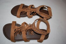 82a694868c6 Womens CAMEL BROWN STRAPPY FRINGED SANDALS Embroid. w  Silver Studs SIZE 7