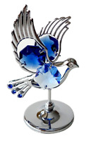Crystocraft Dove Crystal Ornament With Swarovski Elements Gift Boxed Blue Silver