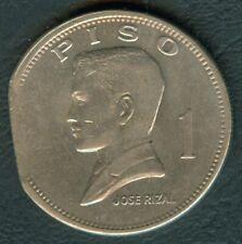 1972 Philippine Pilipino Ser 1 Piso STRAIGHT CLIPPED PLANCHET ERROR Rizal Coin