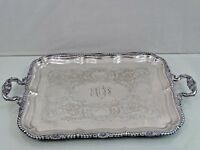 NICE GORHAM LARGE SILVER PLATED TRAY Shell Kings or Queen Pattern   Not Sterling