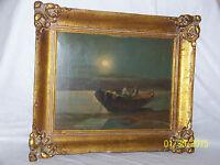 Vintage Greek Original Oil On Artist Board Artist Signed Gold Gild Frame