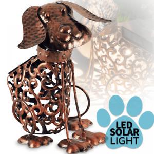 Solar Power LED Silhouette Dog Garden Ornament Metal Outdoor Light Decor Rustic