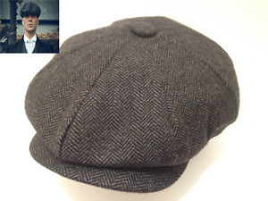 PEAKY BLINDERS DARK GREY HERRINGBONE MODERN FLAT CAP X-SMALL AVAILABLE