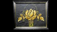 Antique Arts & Crafts Embroidered Panel in wood frame