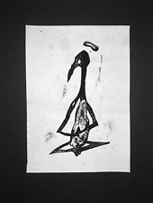 GOZANZE original dark occult art Handmade Relief Block Art Print