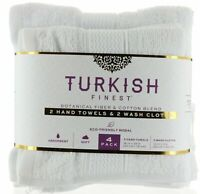 Turkish Finest Hand Towels and Wash Cloth, 100% Cotton, Super Absorbent, White