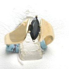 Vintage 14k yellow gold BLUE SAPPHIRE Marquise Ring 0.60 carat WOW Estaye