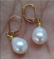 coco AAA Huge 10-13mm Natural White South Sea real Pearl Earrings 14k gold gift