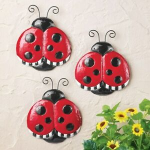 Set of 3 Cute Ladybug Metal Home Garden Fence Sculptures