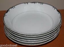 LOT OF 6 MIKASA MARLBORO 9267 SOUP CEREAL COUPE BOWLS PLATINUM VERGE SCALLOP RIM