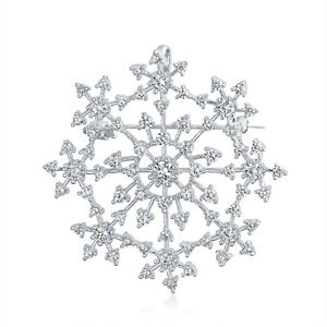 Large Holiday CZ Cubic Zirconia Scarf Christmas Snowflake Brooch Pin